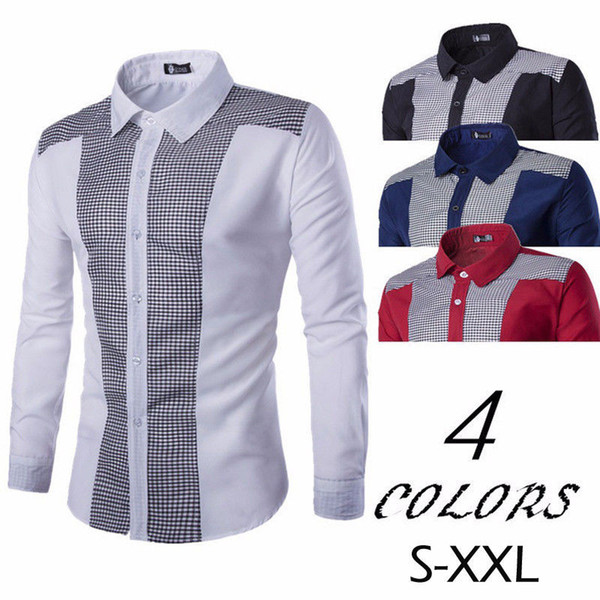 Mens Clássico de Luxo Camisa de Manga Longa Formal Casual Elegante Slim Fit Elegante Tops Do Vintage Camisas de Negócios