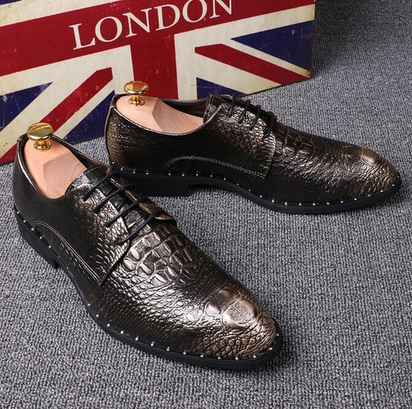 Luxury man Crocodile pattern Dress Leather shoes Flats Genuine Leather New Bronze color Loafers Pointed Toe Formal Men party shoes
