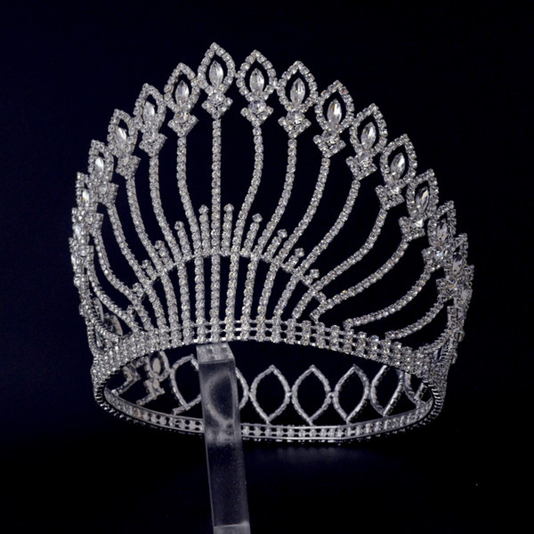 Large Tiaras Full Round Circle For Miss beauty Pageant Contest Crown Auatrian Rhinestone Crystal Hair Accessories For Party Shows 01487e