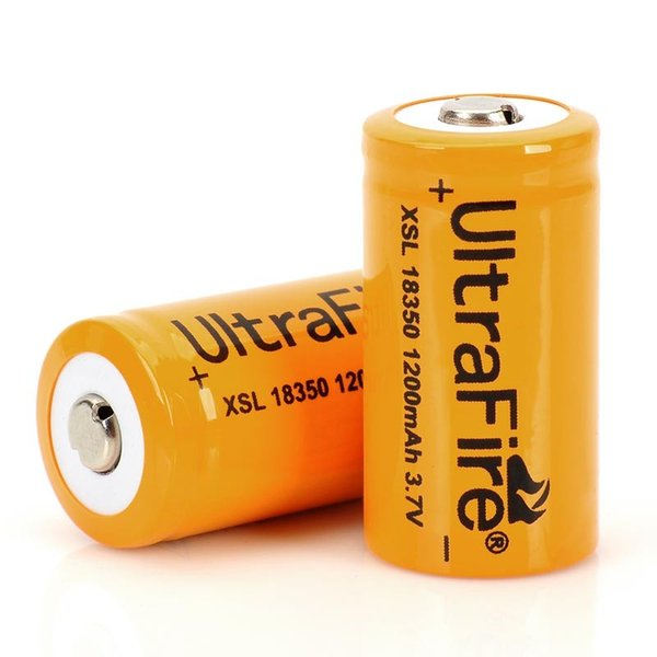ultrafire 18350 3.7v-4.2v 1200mah li-ion rechargeable batteries high drain lithium battery for flashlights etc.