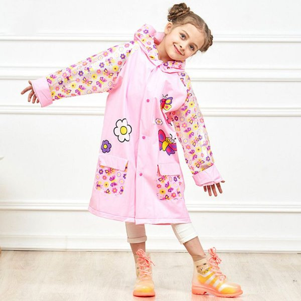 top popular Summer Raincoats with Butterfly Car Printing Waterproof Children Rain Jacket with Backpack Outside Walking Rain Gear Supplie 2019