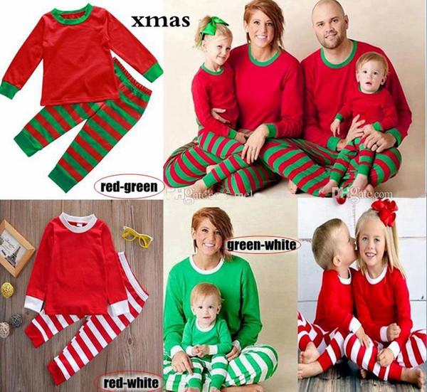 top popular Family Christmas Pajamas Set Adult Women Men Kids Girls Boy Striped Sleepwear Xmas Deer Nightwear Clothes Matching Family Outfits 3 colors 2019