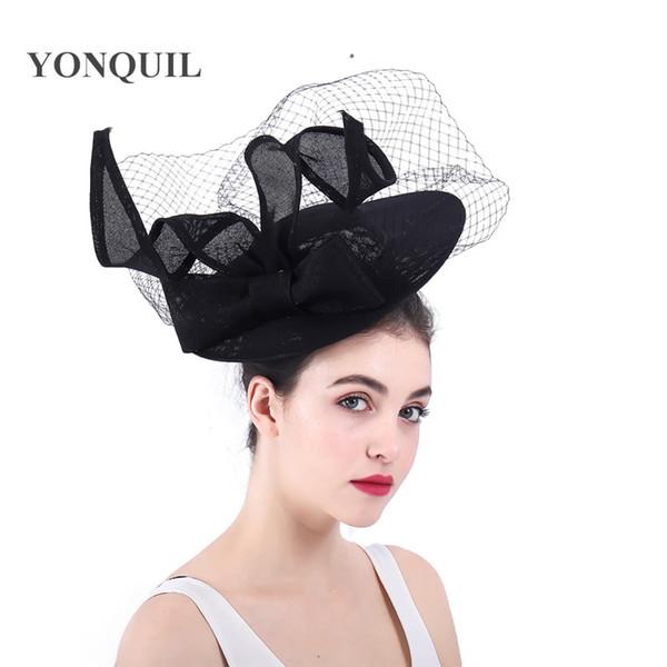 White black chapeau caps bridal hats veil wedding fascinators ladies elegant fashion bow headwear female kenducky race headpiece SYF319