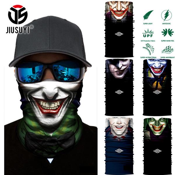3D Sem Costura Tubo Mágico Palhaço Palhaço Homens Crânio Fantasma Pescoço Máscara Facial Bandana Headwear Anel Head Scarf Halloween Snowboard