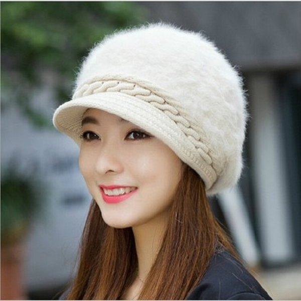Winter Hat Beanies For Women Fur Pompon Outdoor Cap Women Warm Knitted Rabbit Fur Patchwork Cute Hats Female Wool Caps Accessories