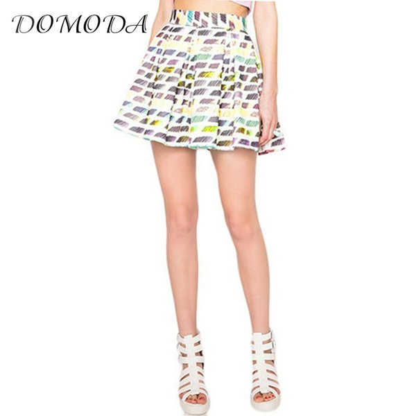 DOMODA 2017 Cute Casual Printed Short Skirt Women New Fashion Sexy High Waist Skater Skirt Office Lady OL Slim Mini