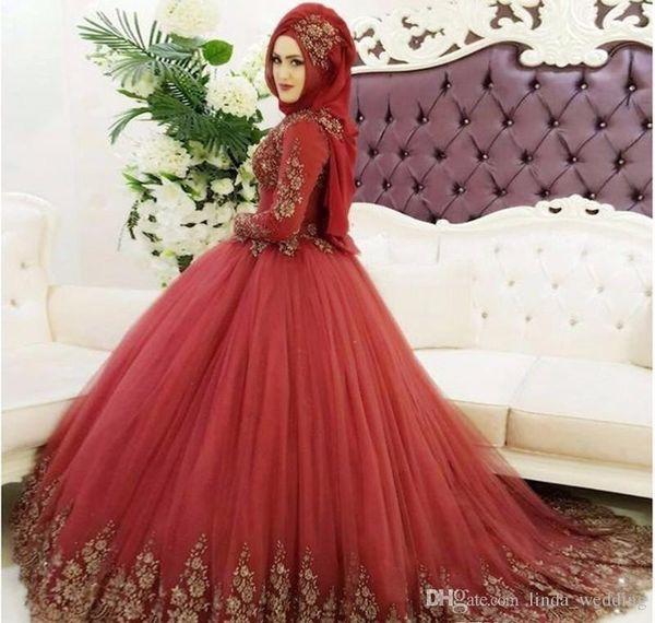 2018 Vintage Arabic Dubai Muslim Red Lace Wedding Dress Princess High Neck Long Sleeves Bridal Gown Plus Size Custom Made