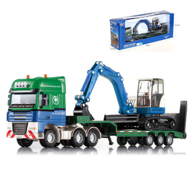 Alloy Car Model Toys, Machineshop Truck, Excavator, Platform Trailer, Excavator, High Simulation, for Party Kid' Birthday' Gifts, Collecting