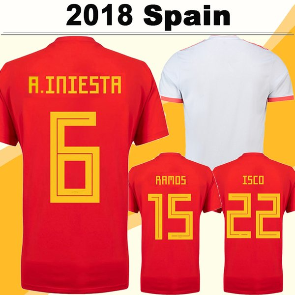 2018 World Cup Spain A.INIESTA Soccer Jerseys ISCO DIEGO COSTA Home Red Jerseys National Team ASENSIO PIQUE Away White Men Football Shirts