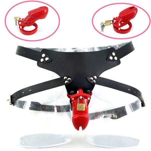 Male Red Plastic Strap On Chastity Cage CB6000 CB6000S Chastity Devices Cock Cage Lock with 5 Base Rings Sex Toys for Men G7-3-14