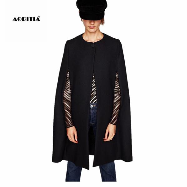 2017 Autumn Winter Black Cape Coat Women Woolen Cloak Jackets Shawl Outerwear Wool Coats