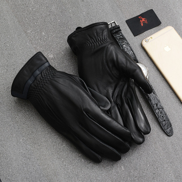 TONFUR Men's Genuine Leather Gloves Real Sheepskin Black Touch Screen Gloves Fashion Brand Winter Warm Mittens New TBWA566