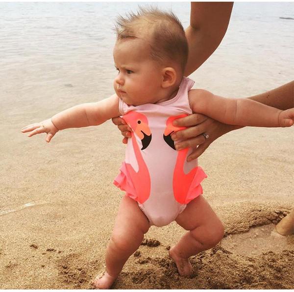 2pcs/set Baby Girls Swimsuit Kids Cartoon Swimwear Swimming Cap Parrot Swan Flamingo Girl Bathing Suit Children Swim Wear