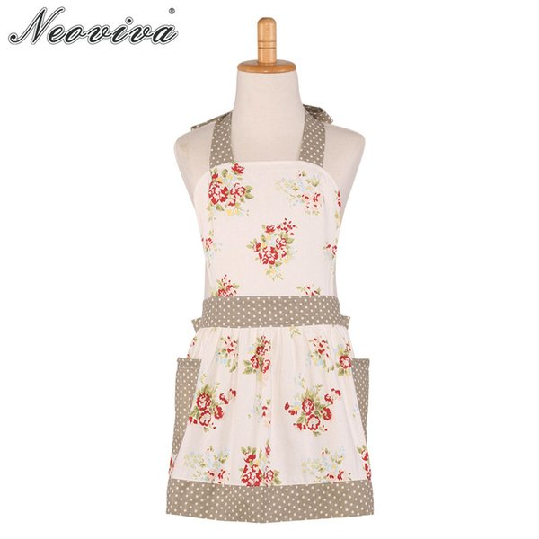 Neoviva Canvas Grembiule con tasche per bambina Little Diana Floral Nitong Roses Home Grembiule Avental Tablier Enfant