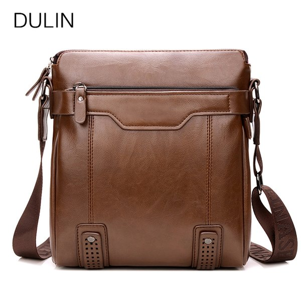DULIN Brand Leather Shoulder Bags Mens Messenger Bag Genuine Handbag Zipper Business Crossbody for Male Brown High Quality