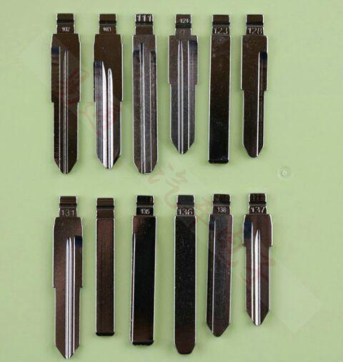 12Pcs/Lot Folding key blade Full Types Car embryo replacing the key head Remote Key Blade Slot Type B NO 121-140