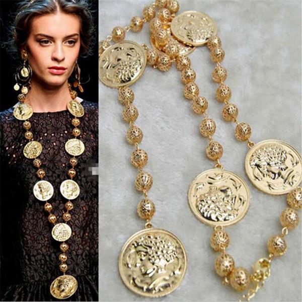 MHS. 1 ADET Avrupa Moda Altın Renk Sikke Barok Kolye Vintage Stil Barok Uzun Kolye Takı Fantezi Kadınlar Için