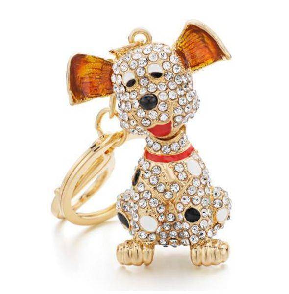 Dalmatian Dog Crystal HandBag Pendant Keyrings Keychains For Car Rhinestone Key Chains Holder Women