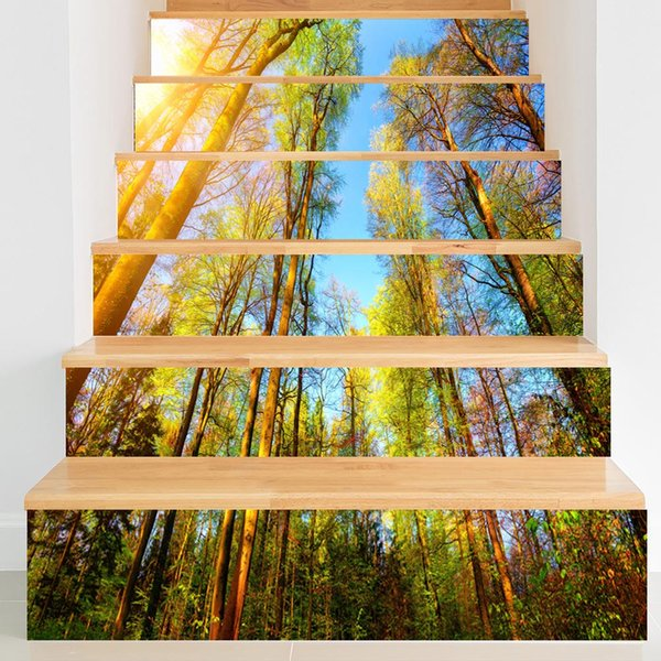 3D View Creative 6pcs/set DIY Steps Stair Sticker Art Waterproof Sunset Forest Scenery Wallpaper PVC Colorful Tree Landscape Home Decoration