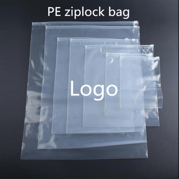500pcs/lot Printing logo Reclosable Clear Plastic Storage Bag For Travel Clothes Zip Lock Bag Underwear Packaging Bag
