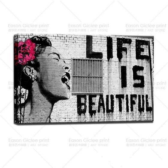Banksy Street Graffiti Life is Beautiful HD Print Canvas Wall Art Urban Picture Home Decor Prints,Multi Sizes Options Pr141!