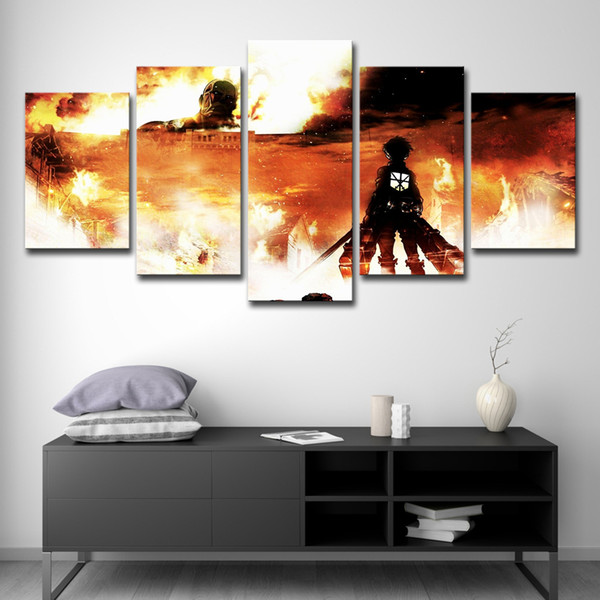 5 Pieces Animated Cartoon Attack On Titan Modern Home Wall Decor Canvas Picture Art HD Print Painting On Canvas For Living Room