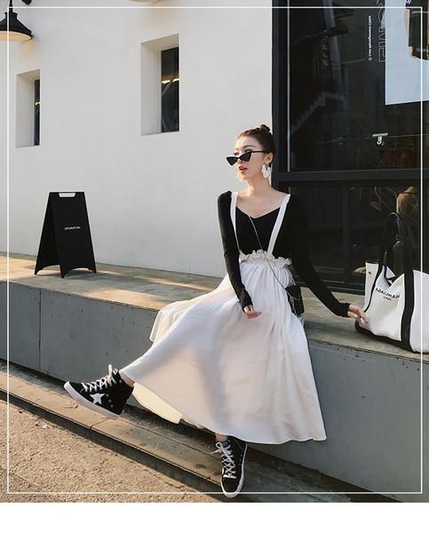 Großhandel - 2018 Sommer neue koreanische Version war dünn schwarz kurz V-Ausschnitt langärmeligen T-Shirt + ein Wort Gurtrock weiß Faltenrock Anzug