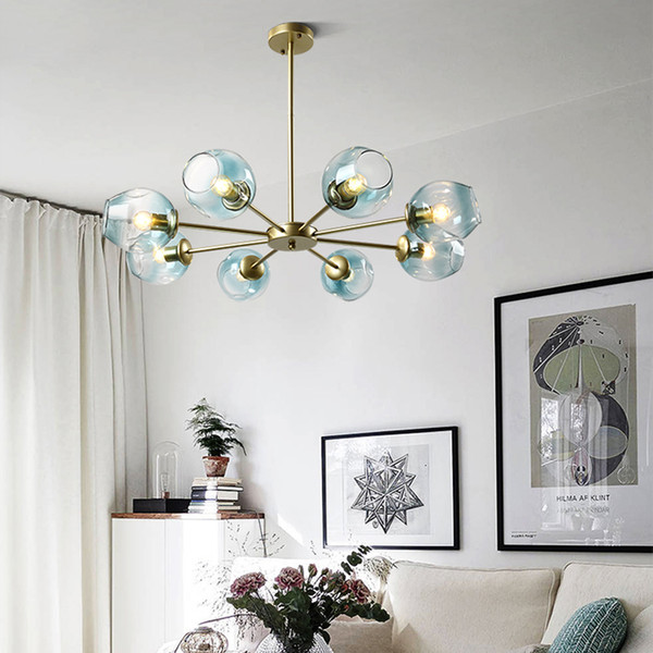 Nordic Hanging Lamps Living Room Modern Led Chandelier Bedroom Restaurant  Blown Glass Chandelier Library Personality Gold Led Pendant Lamp Interior  ...