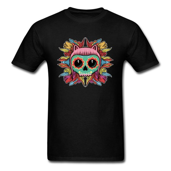 Family Cute Skull Kitten T Shirt Men TShirt Cartoon T-shirt No Fade Printed Clothing Summer Unique Streetwear Woman Top Tees