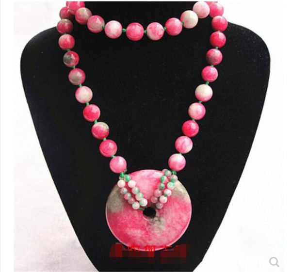 Candy color peach jade red and green treasure pink water drop pendant necklace size safe buckle female jewelry