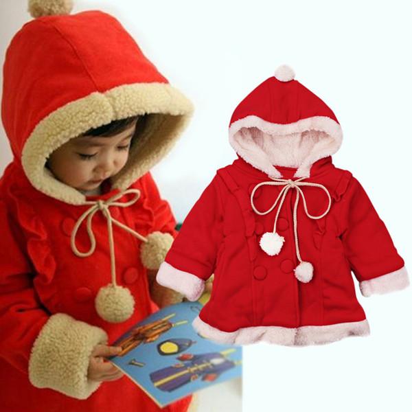 Baby girls Christmas coats 2018 Autumn Winter Thickened plus velvet kids Hoodies Cardigan Jacket Xmas children Outwear kids Clothing C4728