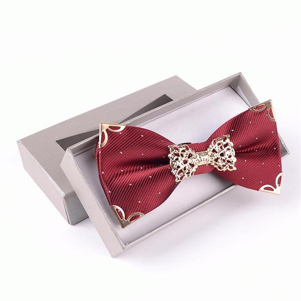noeud papillon en métal de luxe polyester réglable noeud cravate papillon hommes décorés cravate en boîte cadeau