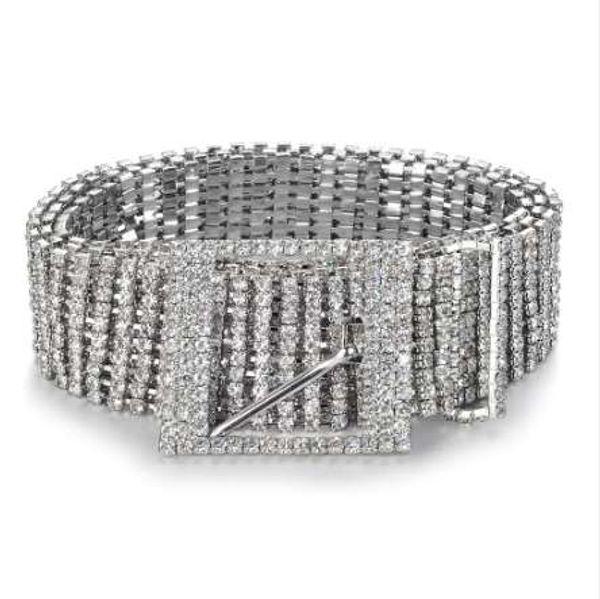 Fashion luxury ten row bright full rhinestone inlaid women's belt female bride wide bling crystal diamond waist chain belt 07