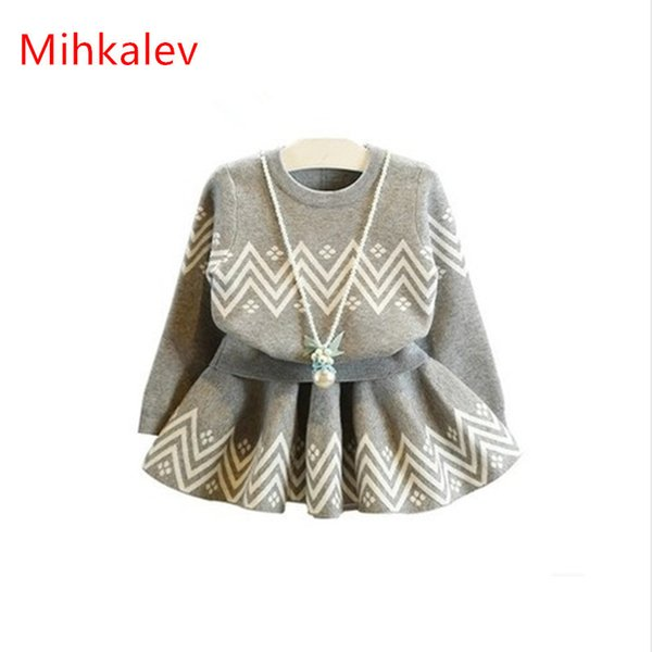 2018 autumn winter kids clothing sets tops+skirt girls 2pcs clothes set children tracksuits for 2years baby dress suit outfits Y1892613