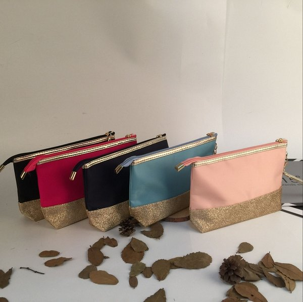 Wholesale Glittery wrist Handbag Sequin Zipper Closure Pouch Nylon Cosmetic bag Lady's hanging out Clutch Dom109862