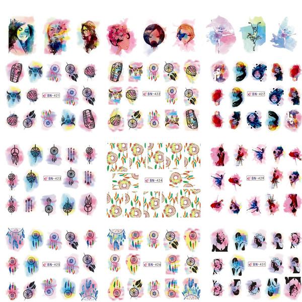 Mixed 12 Designs/Lot Watercolor Gradual Sticker Nail Art Water Transfer Tips Decals DIY Decor Dream Catcher/Girl/Car TRBN421-432