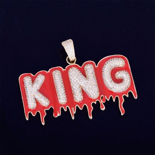 Iced Out на заказ Название Bubble Red Oil Капельное Письмо ожерелье Micro мощеные CZ Мужчины хип-хоп ювелирных подарков
