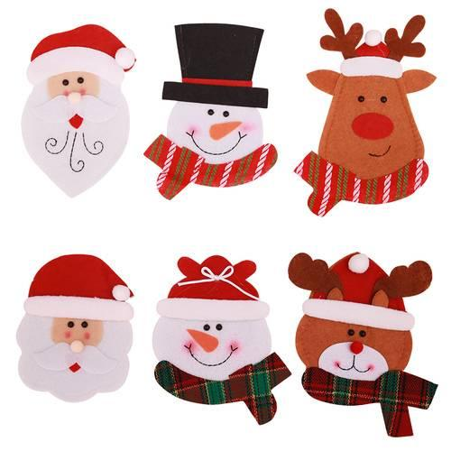 6 7 X4 7 Inches Christmas Decorations Christmas Cartoon Knife And Fork Set Santa Claus Elk Snowman Pattern For New Year Party Supplies Blue Christmas
