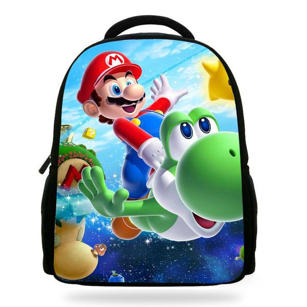 14Inch Fashion Kids Cartoon School Backpack Super Mario Bag For Children Boys Girls Y18100705