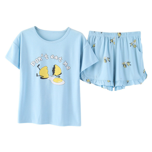 Yasemeen Comfort Cotton Blue Short Sleeve Tee Ruffle Shorts Pajamas Suit Pure Cotton Casual Sleepwear for Young Girls Nightgown
