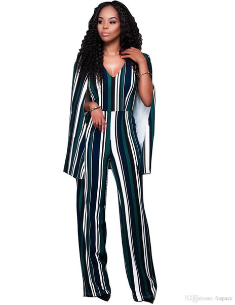 Wholesale- Women Cap Cloak Sleeve Long Jumpsuit Sexy Striped Patchwork Deep V Neck Open Back Wide Leg Playsuits Plus Size Overalls