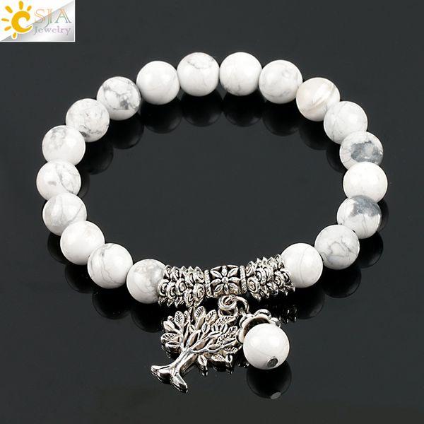 CSJA Fashion Round White Turquoise Howlite Real Stone Mala Beads Tree of Life Bracelets for Women Yoga Healing Power Energy Bracelet E724