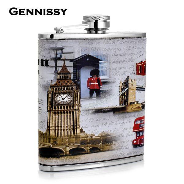GENNISSY UK Hip Flask Picnic Alcohol Flasks with Funnel Portable 7oz Stainless Steel Whisky Big Ben London Bridge United Kingdom