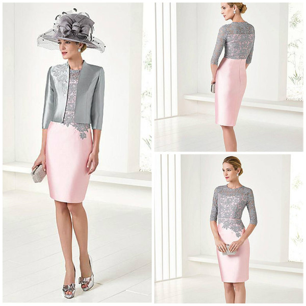 2018 Elegant Pink Mother Of The Bride Dresses With Jacket Knee Length 3/4 Long Sleeve Mother Of The Groom Gowns Plus Size