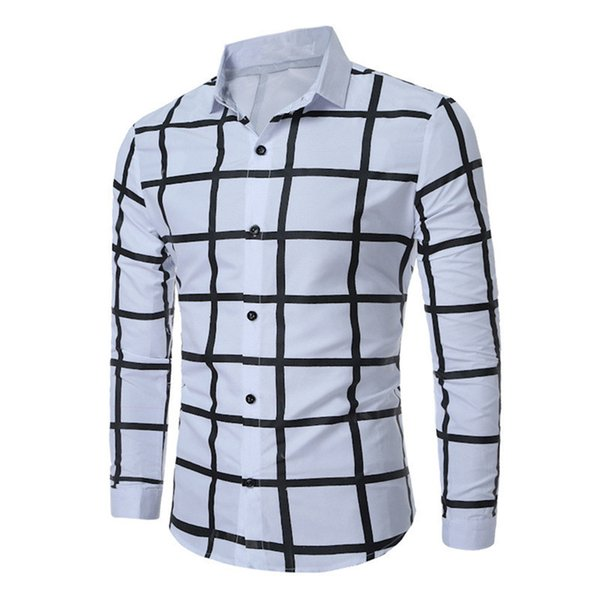 Big Plaids Printed Shirt Male Business Casual Shirts Korean Style Slim Boys 3XL Tops Spring Wear Long Sleeve Blusa Tide Man Party Blouse