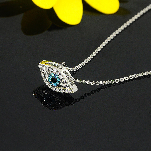 Vintage Arab Crystal Blue Evil Eyes Pendants Necklace Brand Luck Silver Color Chain Charm Necklace Fashion Jewelry