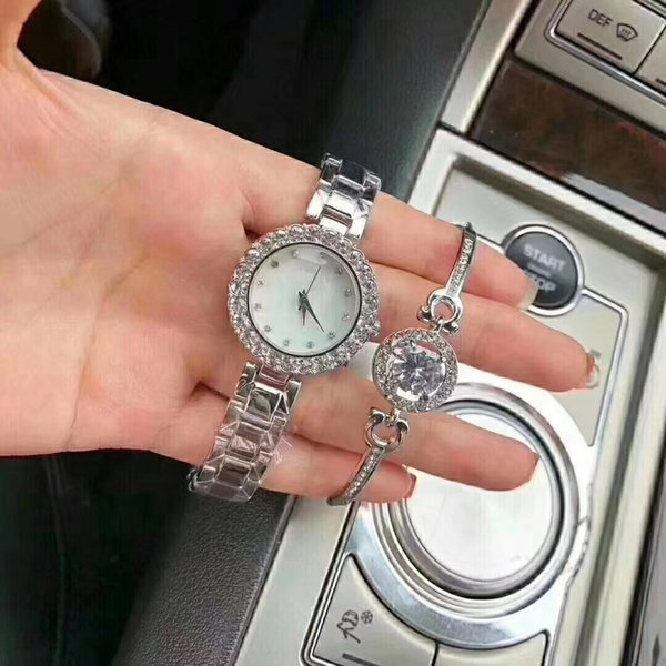 Fashion luxury women watch with diamond Silver Stainless Steel lady watches Bracelet Wristwatches Brand female clock free shipping
