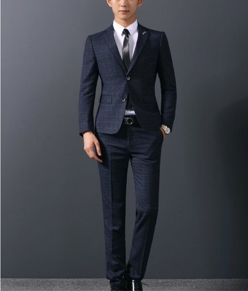 2018 New Blue stripe blazer Groomsmen Suits Slim Fit Mens Wedding Dress Prom Dinner Suit Groom Tuxedos 2piece jacket pant
