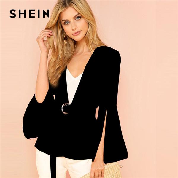 SHEIN Black Office Lady Elegant Split Sleeve Belted Solid Fashion Blazer 2018 Autumn Highstreet Women Coat Outerwear S18101303