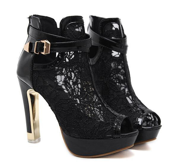 Sexy White Black Lace Hollow Out Peep Toe Ankle Boots Buckle Metal Heels Breathable Chic Wedding Shoes